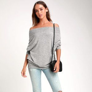 LULUS Casual Magic Off-the-Shoulder Sweater Top M